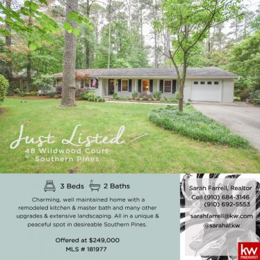 Just Listed: 48 Wildwood Court Southern Pines