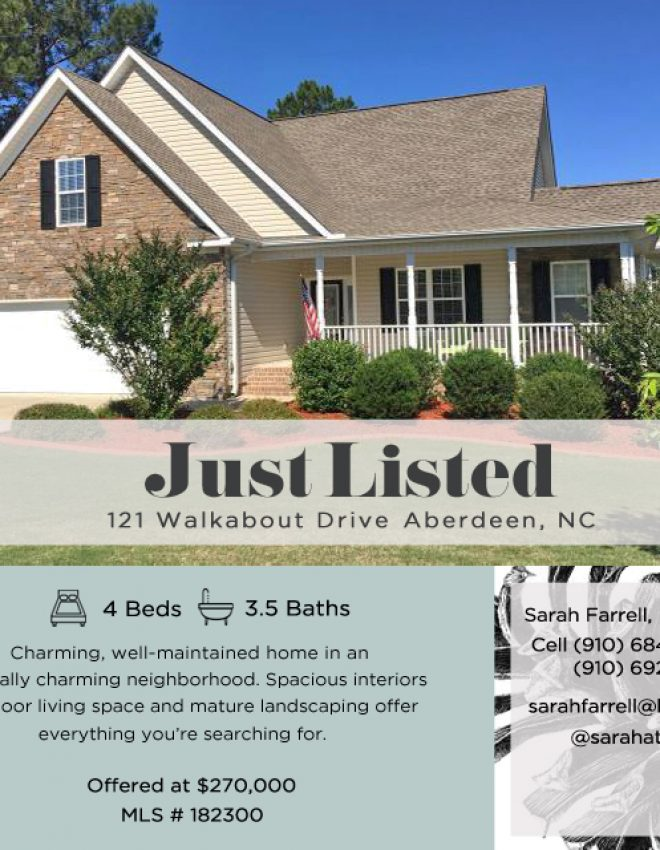 Just Listed: 121 Walkabout Drive Aberdeen, NC